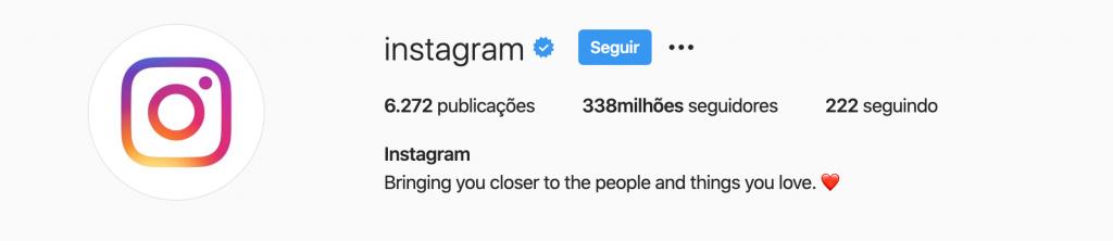 Perfil oficial do Instagram