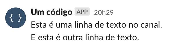 Mensagem de notificação no Slack